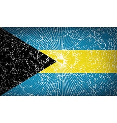 Flags Bahamas with broken glass texture vector image vector image