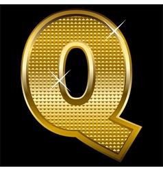 Golden font type letter Q vector image vector image
