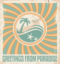 Vintage summer postcard template vector image