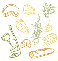 Cheese wine olives vector image