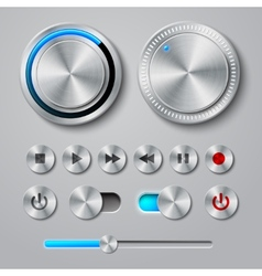 Metal Interface Buttons Collection vector image