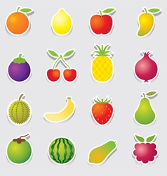 Mixed Fruits Icons Sticker Style vector image vector image