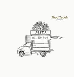 mobile food truck van with pizza vector image