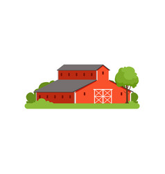 red barn agricultural farm building countryside vector image vector image