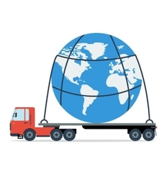 Truck carries the entire planet vector image