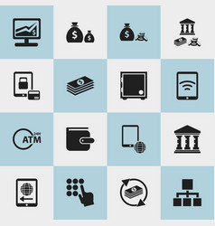set of 16 editable investment icons includes vector image vector image