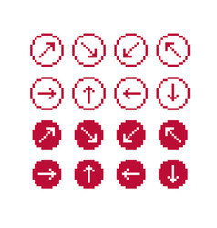 set of retro cursor signs made in pixel art vector image