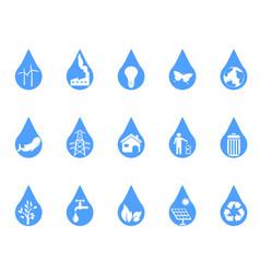 blue eco drop icons set vector image vector image