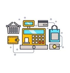 Cash register line style vector image vector image