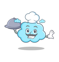 chef with food cute cloud character cartoon vector image