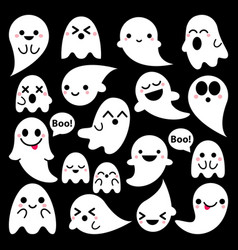 Cute ghosts icons on black halloween vector
