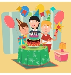 Family Birthday Party Happy Family Celebrating vector image vector image