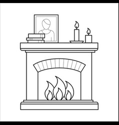 fireplace in thin line style vector image vector image
