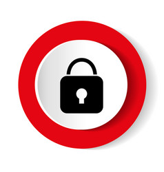 lock icon red glossy circle web icon on white vector image
