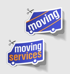 Moving services labels vector