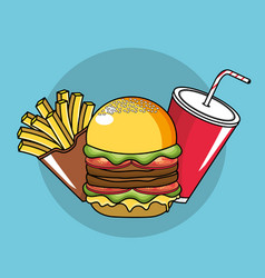 tasty fries french hamburger and soda plastic cup vector image vector image