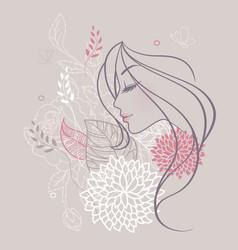 women profile flowers vector image vector image