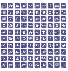 100 nursery school icons set grunge sapphire vector