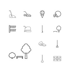 13 grass icons vector