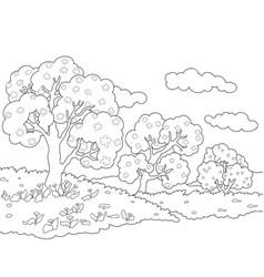 a children coloring bookpage a nature landscape vector image