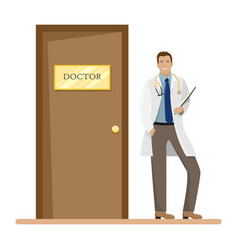 a man doctor in a white robe with a folder vector image