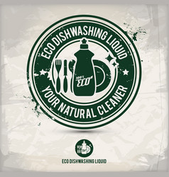 alternative eco friendly dishwashing liquid stamp vector image