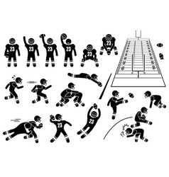 American football player actions poses stick vector