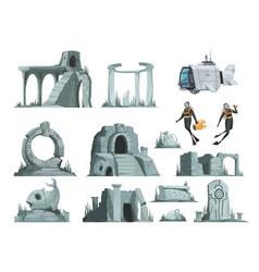 Atlantis ruins cartoon set vector