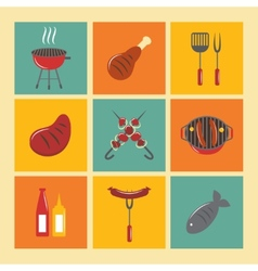 Bbq grill icons flat set vector