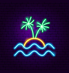 beach palm neon label vector image