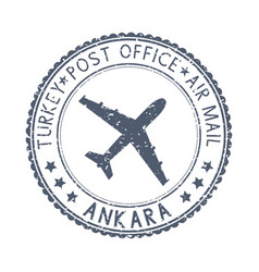 Black stamp with ankara turkey and aircraft vector