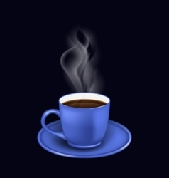 Blue coffee cup with steam vector image