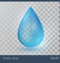 Blue shiny single water drop vector