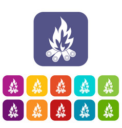 Bonfire icons set flat vector