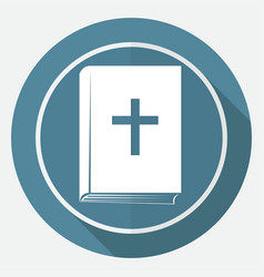 Book icon on white circle with a long shadow vector