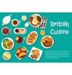 British cuisine dinner with comfort food flat icon vector
