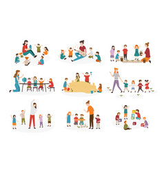 bundle of preschool or kindergarten activities vector image