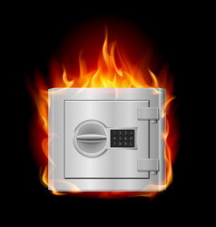 Burning steel safe on black background vector