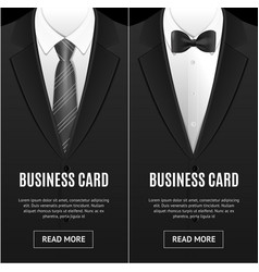 Business card bow tie and necktie set vector