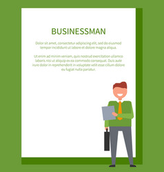 businessman poster frame for text and smiling man vector image