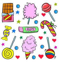 Candy various design doodle style vector