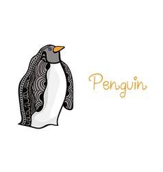 card of penguin hand drawn original artwork vector image
