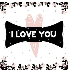 Card with lettering i love you in scandinavian vector