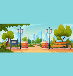 city park entrance and wooden benches trees lamp vector image