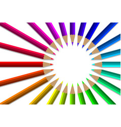 colorful pencils with circle white blank vector image