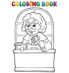 Coloring book judge theme 1 vector
