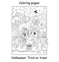 Coloring book page cute unicorns in mummy costumes vector