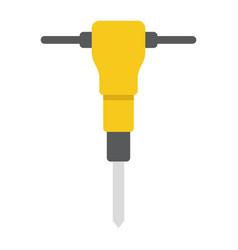 construction jackhammer flat icon build repair vector image