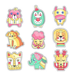 Cute colorful cloth patches set embroidery or vector