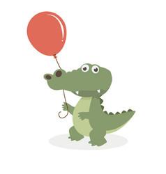 cute crocodile with balloon vector image